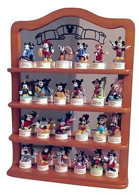 "Disney Lenox  Mickey Mouse Porcelain Thimble 2 3/4"" Figurine Lot of 24 W/ Shelf"