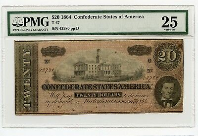 1864 $20 Confederate States of America Note (T-67) Very Fine 25 PMG.
