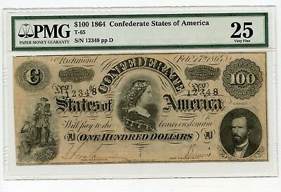 1864 $100.00 Confederate States of America Note (T-65) Very Fine 25 PMG.