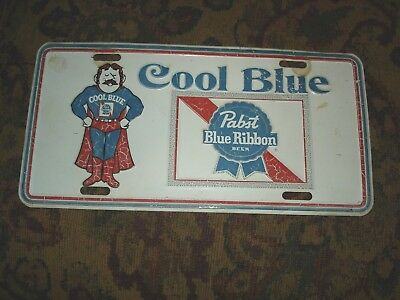 "Vintage Pabst Blue Ribbon ""Cool Blue"" License Plate PBR Man"