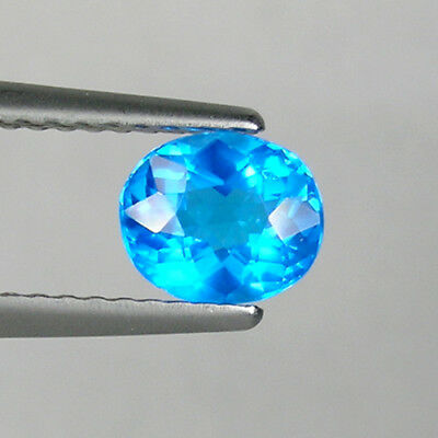 0.76 cts ULTRA RARE  _VIVID  NEON BLUE _ NATURAL  APATITE - OVAL CUT  _  3798-