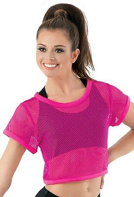 Balera Mesh Crop Top LC Large Child Hot Pink Large Child Mesh Hip Hop Dance