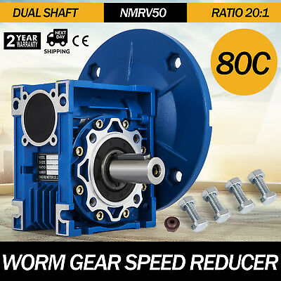 NMRV050 Worm Gear 20:1 80C Speed Reducer Gearbox Dual Output Shaft New 1.14HP