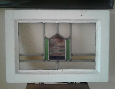 Antique Stained Glass Window White Wood Frame Purple Green Vintage Shabby Chic