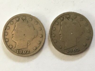 1902 & 1903 US Liberty V Nickel.