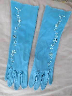 Finelon deep aqua mid-forearm vintage embroidered dress gloves size 6.5