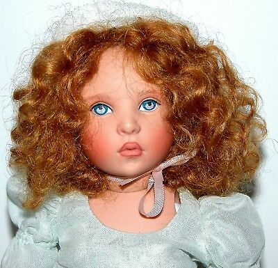 "9"" Helen Kish Doll #97108 in Light Blue Dress and Bonnet with Auburn Curly Hair."