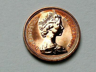 UK (Great Britain) 1971 ONE PENNY (1p) Elizabeth II Proof Coin - Ring Toning