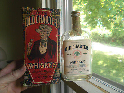 Old Charter Whiskey Emb & Labels Dated 1929 Pint Flask With Stopper & Box