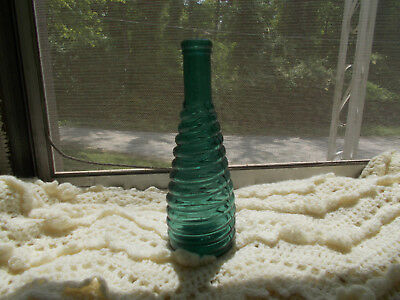 Beautiful Teal Blue Spiral Ring Peppersauce Bottle Emb S&p(Stickney & Poor) 1883