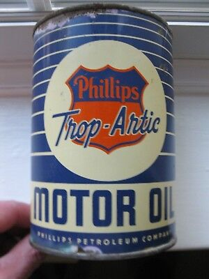 Vintage Phillips Trop-Artic 1 One Quart Oil Can Tin PHILLIPS 66 SIGN GAS STATION