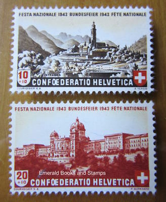 EBS Switzerland Helvetia 1943 Pro Patria set 420-421 MNH**