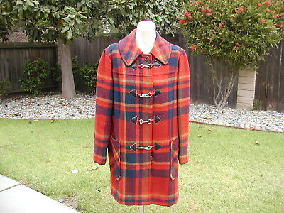 Knockabout by Pendleton Women's Sz M Plaid Coat w/ Buttons & Metal Clasp Toggles