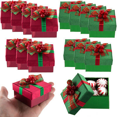8pk Small Presents Holiday Mini Gift Boxes Lids Bows Christmas Party Favors Bulk