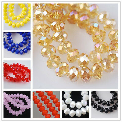 Rondelle Faceted Crystal Glass Loose Spacer Beads Wholesale /4mm/6mm/8mm/10mm