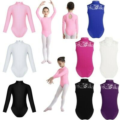 Girls Leotard Polo Turtle Neck Ballet Dance Long Sleeve Black Shiny Nylon Lycra
