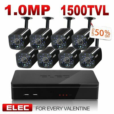 ELEC 8CH DVR 1500TVL 4Cams 1MP IR-Cut Home Video CCTV Security Camera System Kit