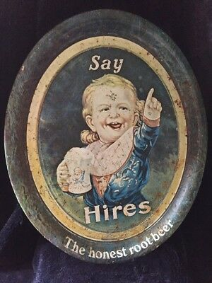 1905 Pat Applied For Copyrighted 1907 Hires Root Beer Advertising Sign/Tray Rust