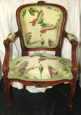 Antique Victorian French Louis XV Hand Carved Child's Chair Butterflies Green