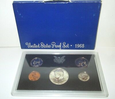 United States Coin Us 1968 Proof Set Half Dollar Quarter Penny Nickel Dime Cased