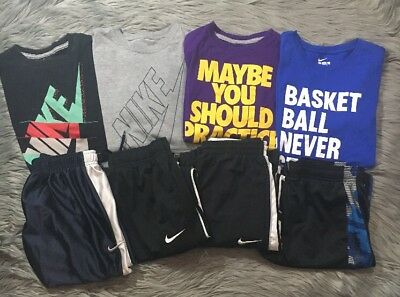 Boys Lot Athletic Wear Nike Under Armour  L 8 Pieces 2 Shorts 2 Pants 4 Shirts