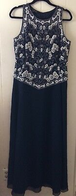 JKara New York Beaded Navy Blue w/White Gold Dress Formal Evening Gown Sz 12