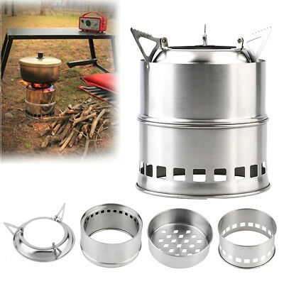 Portable Camping Hiking Steel Stove Wood Solid Alcohol Burner Outdoor Picnic DEN