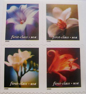 4 Flowers First-Class Block 4 REMOUNTED Stamps Scott's 3454 to 3457 Die Cut 10.5