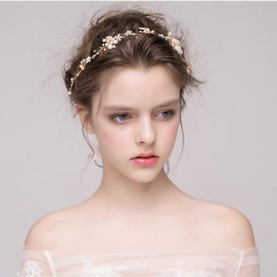 Princess Wedding Bridal Party Pearl Crystal Flower Hair Band Headband Tiara