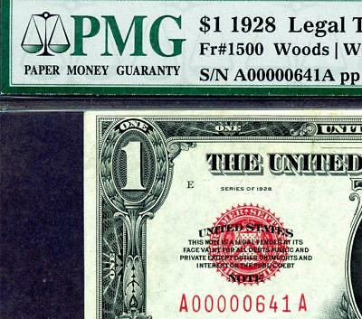 HGR FR#1500 1928 $1 RED Funny Back ((Rare LOW Serial#641)) PMG CHOICE UNC 63EPQ