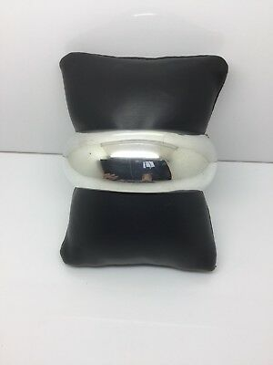 Sterling Silver High Polished Round Thick Bangle Bracelet Made In Mexico