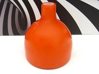 Very Large Orange & White Cased Art Glass Pop Art Glass Vase Free-formation  A1