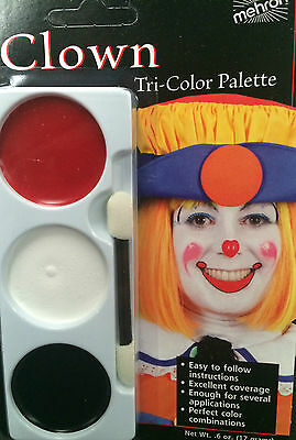 Mehron face paint palette 3 colours clown fancy dress circus clowns grease paint