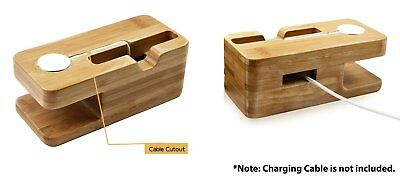 Bamboo Wood Station Charging Stand Charger Holder for Apple Watch iPhone