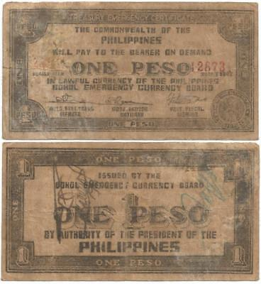 1943 PHILIPPINE INSURGENT Issue BOHOL Province, ONE PESO Note WORLD WAR II Only