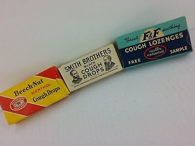 Vintage Cough Drop Lozenge Beech-Nut F&F Smith Brothers Free Sample Size