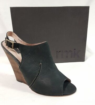 Ladies Shoes RMK MADISON Size 9.5 Black Leather Slingback Mule Wedge Heels BNIB
