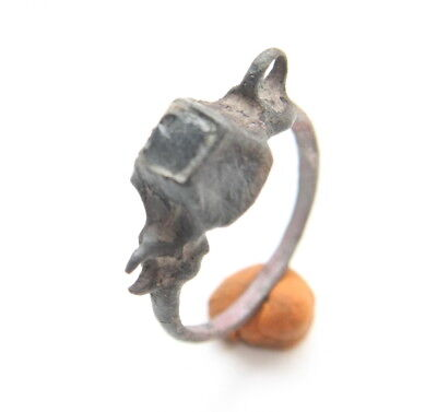Ancient Medieval Bronze Finger Ring With Dark Inlay (MAR)