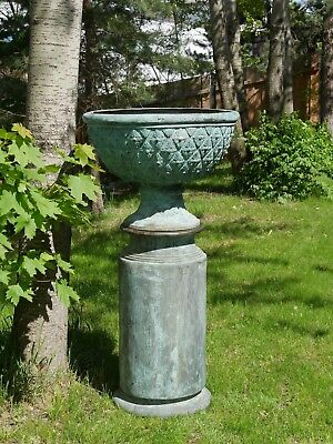 Garten Highlight!! Grosse Pflanzschale Amphore Vase Mit Originalsockel Bronze!