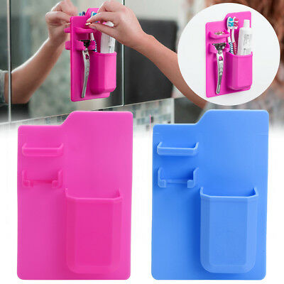 Silicone Mighty Toothbrush Holder Baskets Bathroom Organizer Storage Space Rack