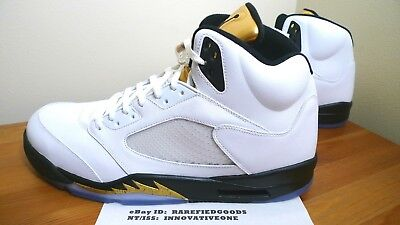 new product a5213 a3fda Nike Air Jordan V 5 Olympic Gold Medal White Gold Coin Black Sz 18  136027