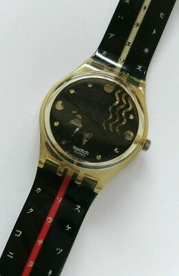 Swatch Flake GK 165 / 166 1992 Vintage gent Uhr Japan Schwarz Gelb Rot Swiss TOP