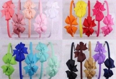 "10 Boutique Good Girl Headband 4.5~5"" Hair Bow Clip 2 Styles 222 No."