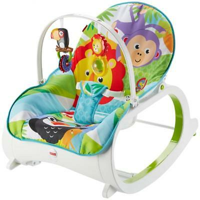 Baby Bouncer Chair For Boys Toddler Rocker Seat Jungle Print Vibration Toy Bar