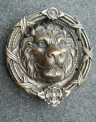 "Unique, Hand Made, Large Solid Brass, 4lb, Lion Head Door Knocker 8""dia. #D3"