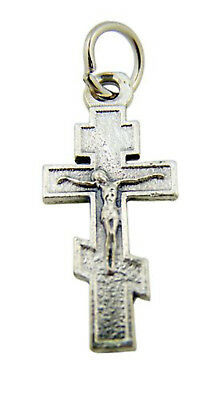 Silver Toned Base Byzantine Orthodox Cross Crucifix Charm Pendant, 1 Inch