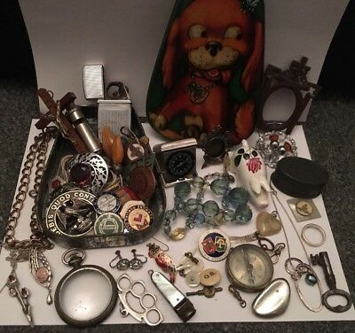 Job Lot Mixed Vintage & Antique Jewellery & Items & Sterling Silver In Dog Tin