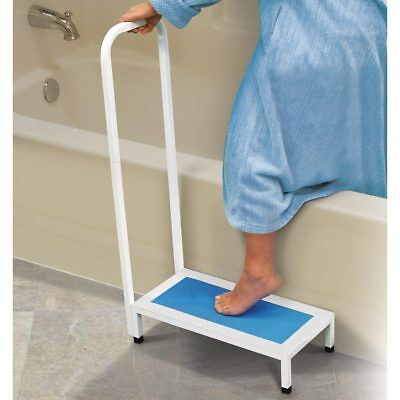 Bath Shower Step Stool with Handle Non Slip Grip Supports Up To 500 lbs. White