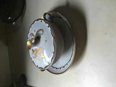 Bing & Grondahl Covered Cream Soup Bowl and Saucer  # 247 gold, cream