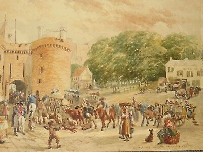 Antique 19th Century Original French Watercolour Painting Market Day Cattle